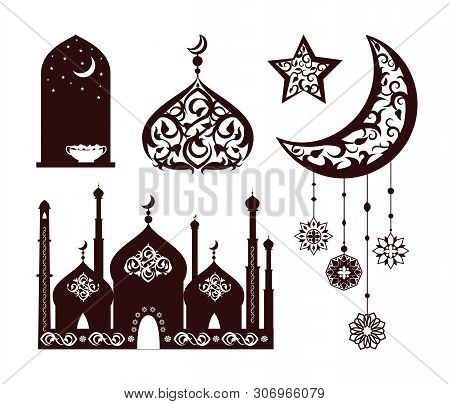 Oriental Ornaments On Different Black Silhouettes Vector Illustration Of Isolated On White Backgroun