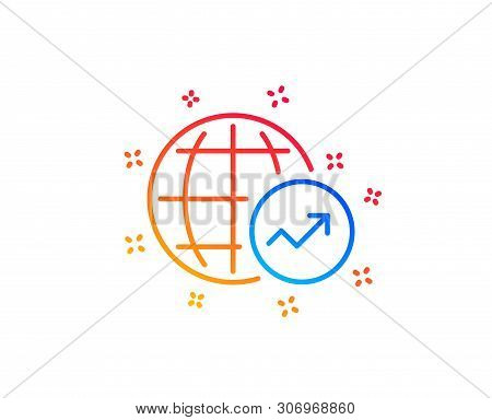 World Statistics Line Icon. Report Chart Or Sales Growth Sign. Data Analysis Graph Symbol. Gradient