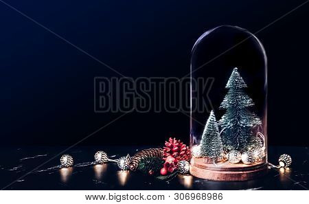 Merry Christmas With Mistletoe And Gift Box Icon With Xmas Tree And Glowing Light String And Pine Co