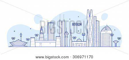 Riyadh Skyline Saudi Arabia City Buildings Vector