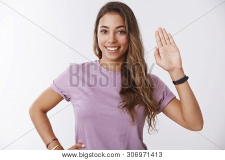 Friendly Confident Happy Girl Getting Know New People Waving Raised Palm Saying Hi Hello Smiling Bro