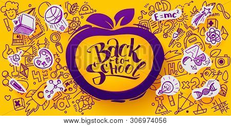 Back To School Banner With Line Art Icons Of Education, Science Objects On Paper Art Cut Out Icons.