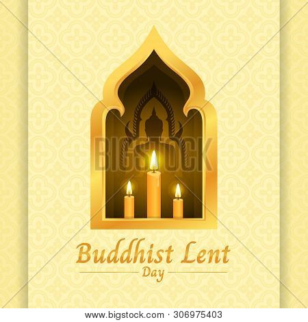 Buddhist Lent Day Banner With Yellow Candle Light And Buddha Sign In Gold Window On Soft Yellow Text