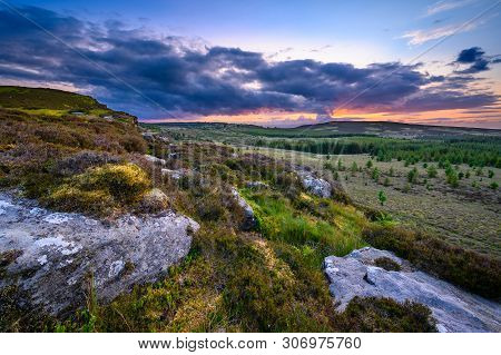 Sunset Viewed From Up On Great Wanney Crag, On The Edge Of Northumberland National Park, Is A Remote
