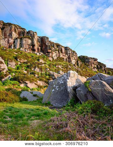 Great Wanney Crag And Boulders In Portrait, On The Edge Of Northumberland National Park, Is A Remote