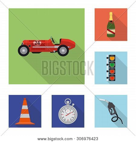 Isolated Object Of Car And Rally Icon. Collection Of Car And Race Stock Symbol For Web.