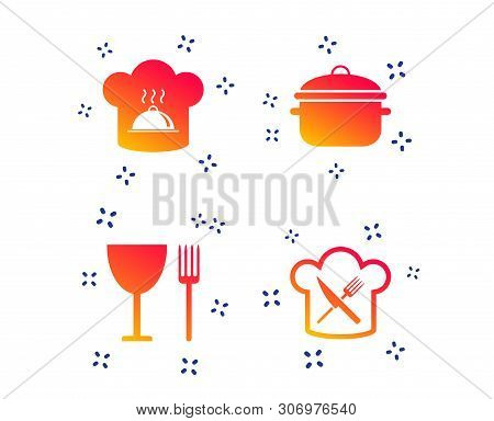 Chief Hat And Cooking Pan Icons. Crosswise Fork And Knife Signs. Boil Or Stew Food Symbols. Random D
