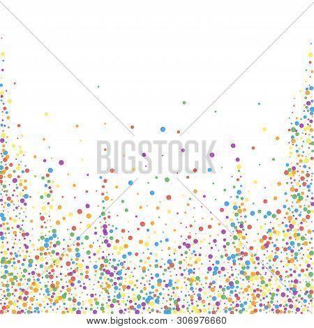 Festive Confetti. Celebration Stars. Rainbow Confetti On White Background. Captivating Festive Overl