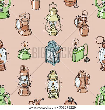 Lantern Vector Antique Light Lamp Or Vintage Lighter Or Flash-light For Lighting Illustration Lighti