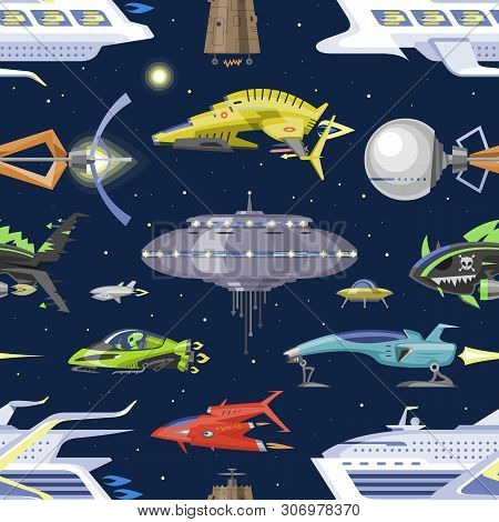Spaceship Vector Spacecraft Or Rocket And Spacy Ufo Illustration Set Of Spaced Ship Or Rocketship In