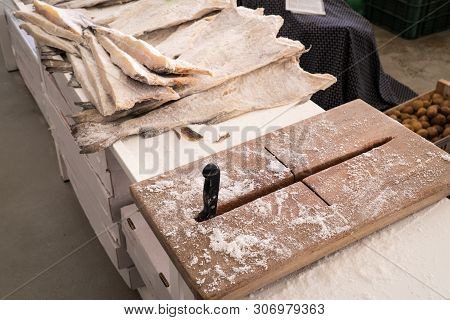 View Od Dried Salted Cod And Cutting Board At Farmers Market