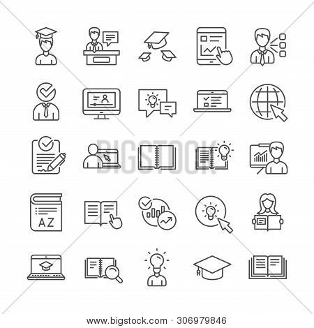 Education Line Icons. Laptop, College Book And Video Tutorial Icons. Graduation Cap, Instructions An