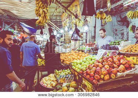 Amman, Jordan - May 18, 2019: Market In Amman Downtown, Jordan. Choice Of Arabic Fruits And Vegetabl