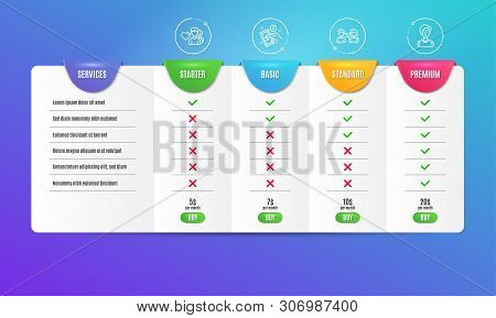 People Communication, Payment Method And Man Love Icons Simple Set. Comparison Table. Businesswoman
