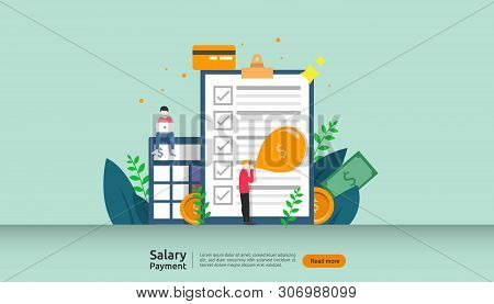 Salary Payment Concept. Payroll, Annual Bonus, Income, Payout With Paper Calculator And People Chara