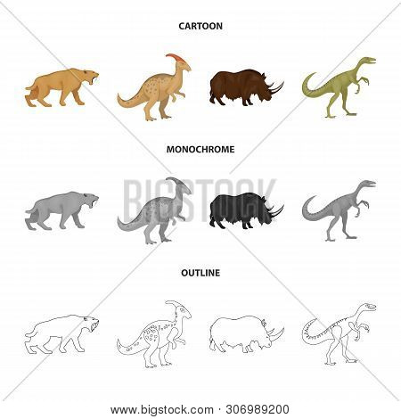 Isolated Object Of Animal And Character Symbol. Collection Of Animal And Ancient Stock Vector Illust