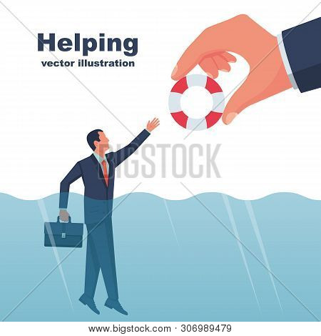 Business Helping Concept. Male With A Life Buoy In Water. Businessman Gives A Helping Hand To An Emp