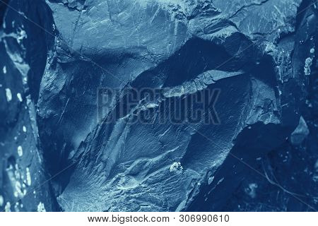 Vintage Blue Background. Rough Painted Wall Of Sapphire Color. Imperfect Plane Of Blue Colored. Unev
