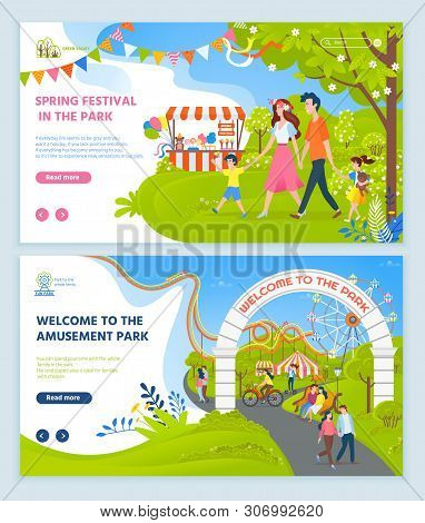 Spring Festival Vector, Park With Child And Parents, Relaxation On Nature, Amusement With Attraction