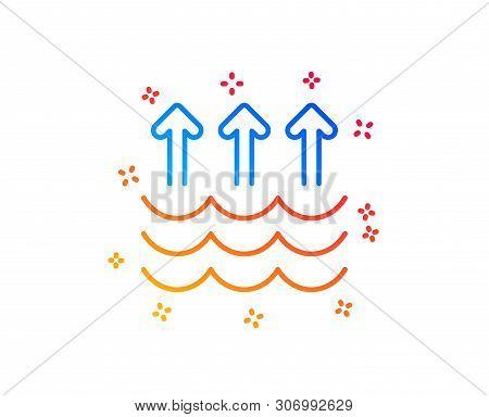 Evaporation Line Icon. Global Warming Sign. Waves Symbol. Gradient Design Elements. Linear Evaporati