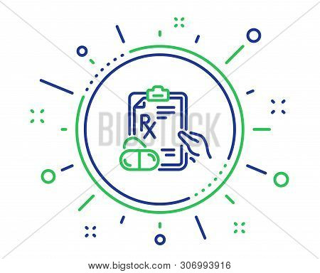 Prescription Rx Recipe Line Icon. Medicine Drugs Pills Sign. Quality Design Elements. Technology Pre