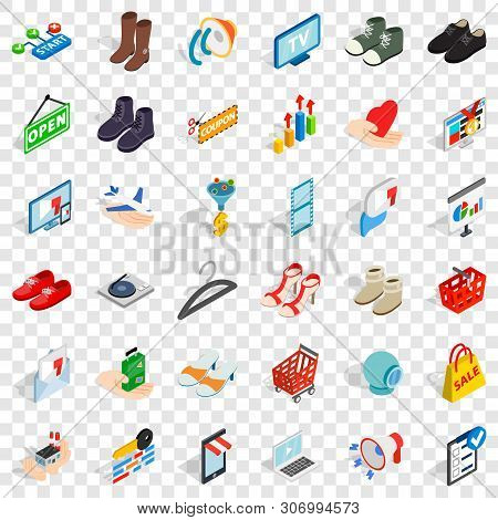Shopping Bag Icons Set. Isometric Style Of 36 Shopping Bag Vector Icons For Web For Any Design