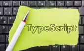 TypeScript programming language. Paper width word TypeScript and pencil on laptop keyboard poster