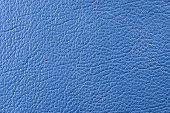 Natural qualitative blue leather texture. Close up. poster