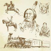 wild west - hand drawn set poster