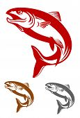 Salmon fish mascot in retro style isolated on white background poster