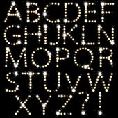 Set of light bulb letters isolated