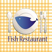 fish restaurant illustration with plate and dishes poster