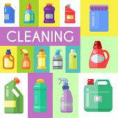 Cleaning products poster household bottle plastic liquid detergent product vector illustration. Cleaner disinfect equipment packaging. Cleanup care housekeeping fluid container. Housework supplies poster