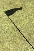 Flag shadow on a golf field, without ball poster