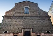Incomplete facade of the church of Santa Lucia, great hall of the University of Bologna, Italy poster