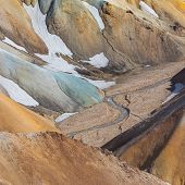 Landmannalaugar National Park - Iceland. Rainbow Mountains. Beautiful colorful volcanic mountains. Summer time. poster