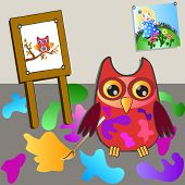 little sweet owl of painting (painter) poster