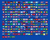 257 world flags countrys over blue background poster