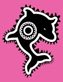 tribal style black dolphin pink background sun poster