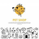 Cute pets and different care elements in doodle style. Vet symbol collection like kennel, leash, food, paw, bowl, pills and others. Can be used for postcards, banners, websites or ads in pet shop theme poster