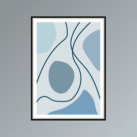 Abstract Stains And Lines Poster In Shades Of Blue For Interior Decor.