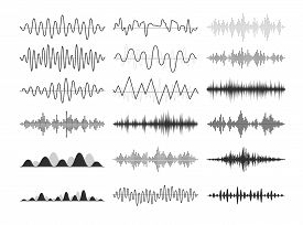 Black Musical Sound Waves. Audio Frequencies, Musical Impulses, Electronic Radio Signals, Radio Wave