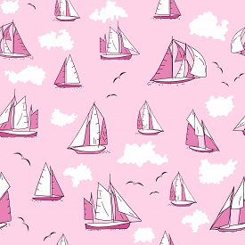 Seamless Pattern With Yachts, Seagulls And Clouds On Pink Background.