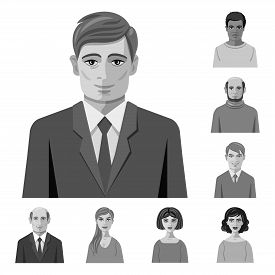 Vector Design Of Face And Person Logo. Set Of Face And Portrait Stock Vector Illustration.