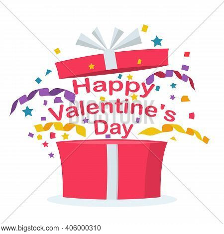 February 14, Happy Valentines Day. The Box With Confetti And Streamer Opens With An Explosion. Vecto