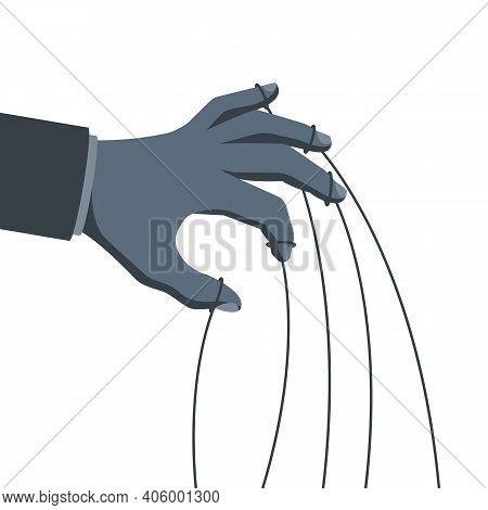 Manipulation Concept. Manipulators Hand With Ropes In Gray. Abuse Of Power. Vector Illustration Flat