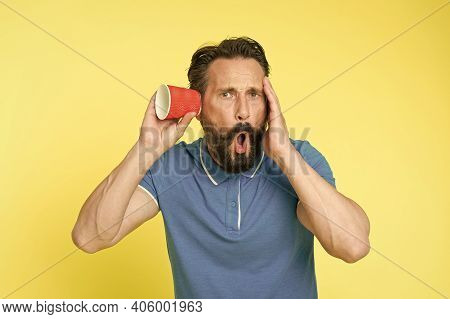 Ear And Hearing Care. Mature Man Suffer Deafness Or Hearing Loss. Hearing Disorder. Hearing Testing.