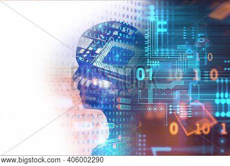 Abstract Technology. Futuristic Technology Background And Hi-tech Computer Technology Background. Ci