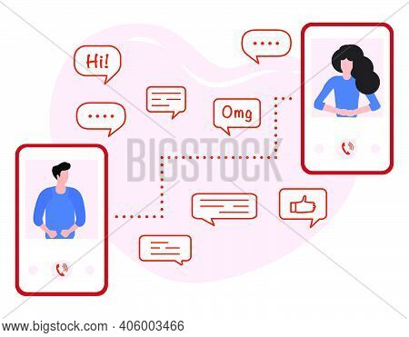 Vector Illustration Communication With Person. People Talking On The Phone. Dialogue Speech Bubbles.