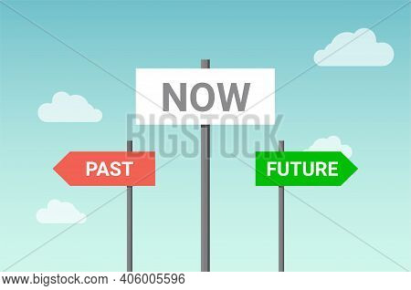 Future Past Present Board Icon. Now Pas And Future Way Destiny Sign